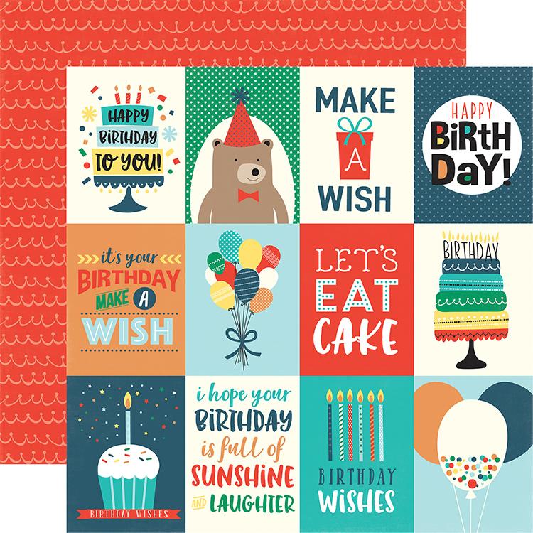 Echo Park Happy Birthday Boy 3x4 Journaling Cards Paper