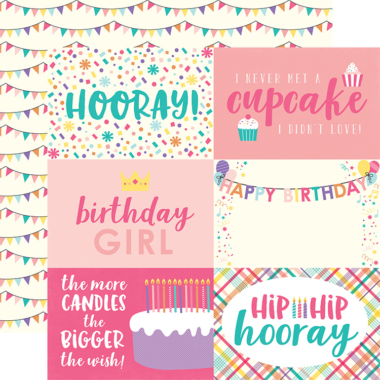 Echo Park Happy Birthday Girl 4x6 Journaling Cards Paper
