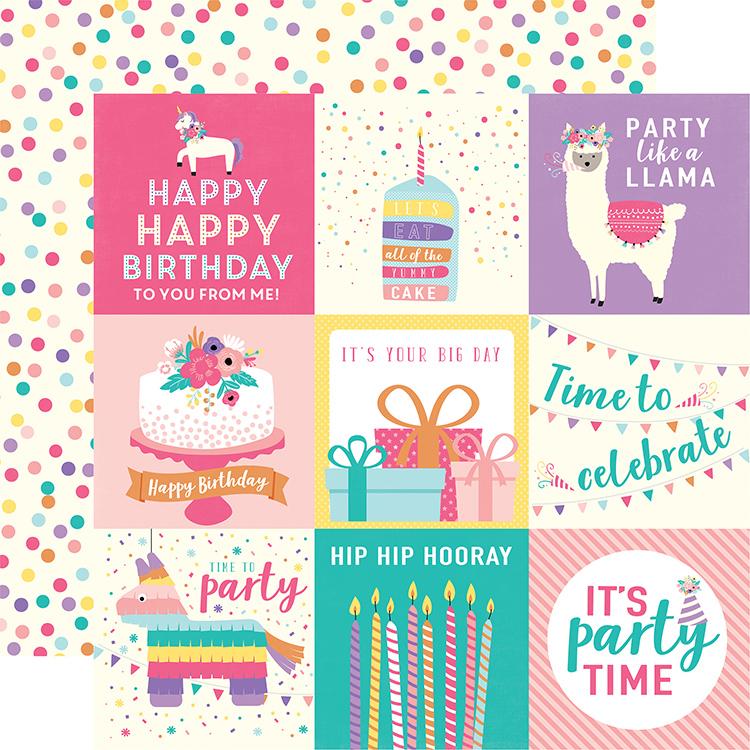 Echo park happy birthday girl 4x4 journaling cards paper echo park happy birthday girl collection 12 x 12 double sided paper 4 x 4 journaling cards bookmarktalkfo Gallery