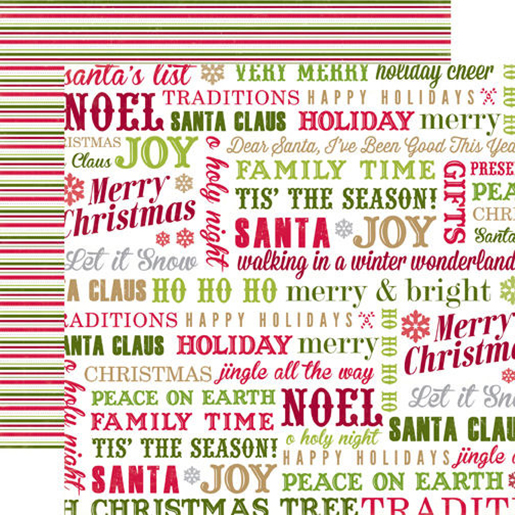 echo park home for the holidays collection christmas 12 x 12 double sided