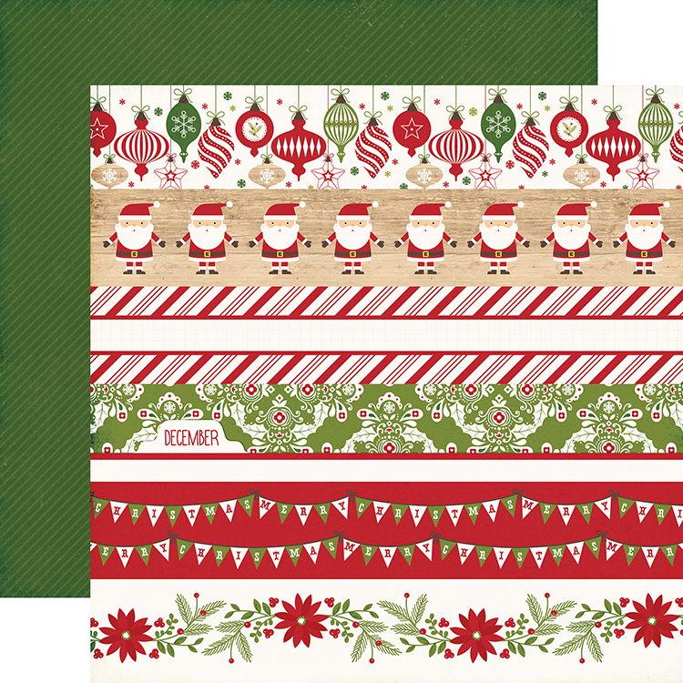 echo park i love christmas collection 12 x 12 double sided paper border strips