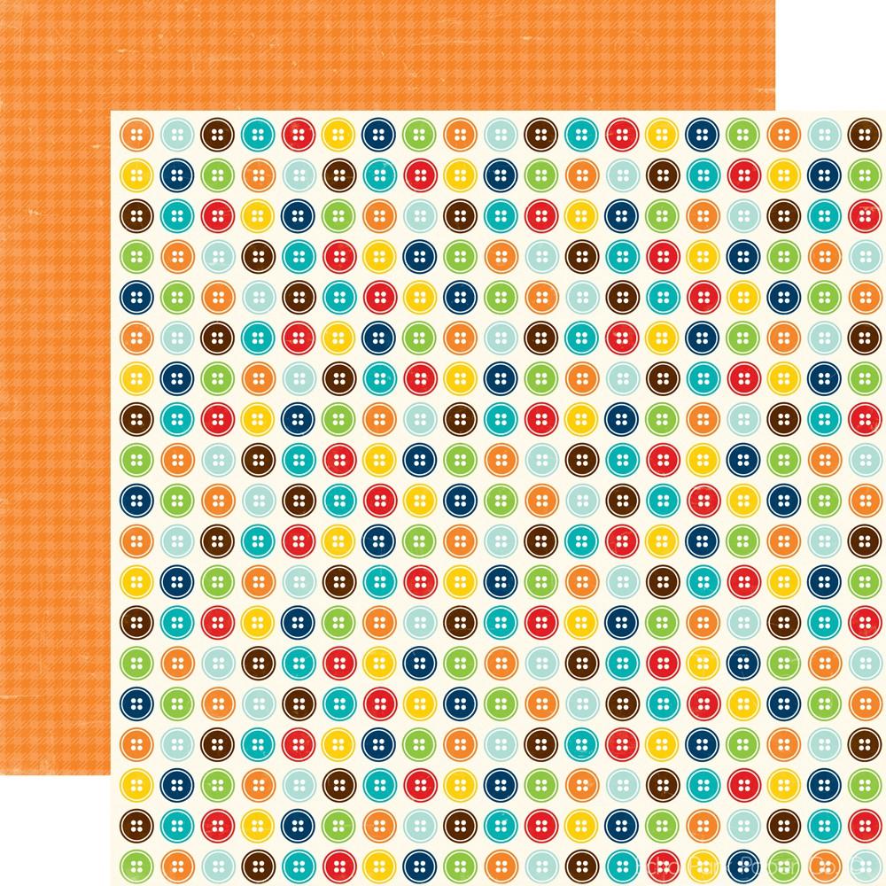 Scrapbook paper echo park - Echo Park Little Boy Collection 12 X 12 Double Sided Paper Buttons
