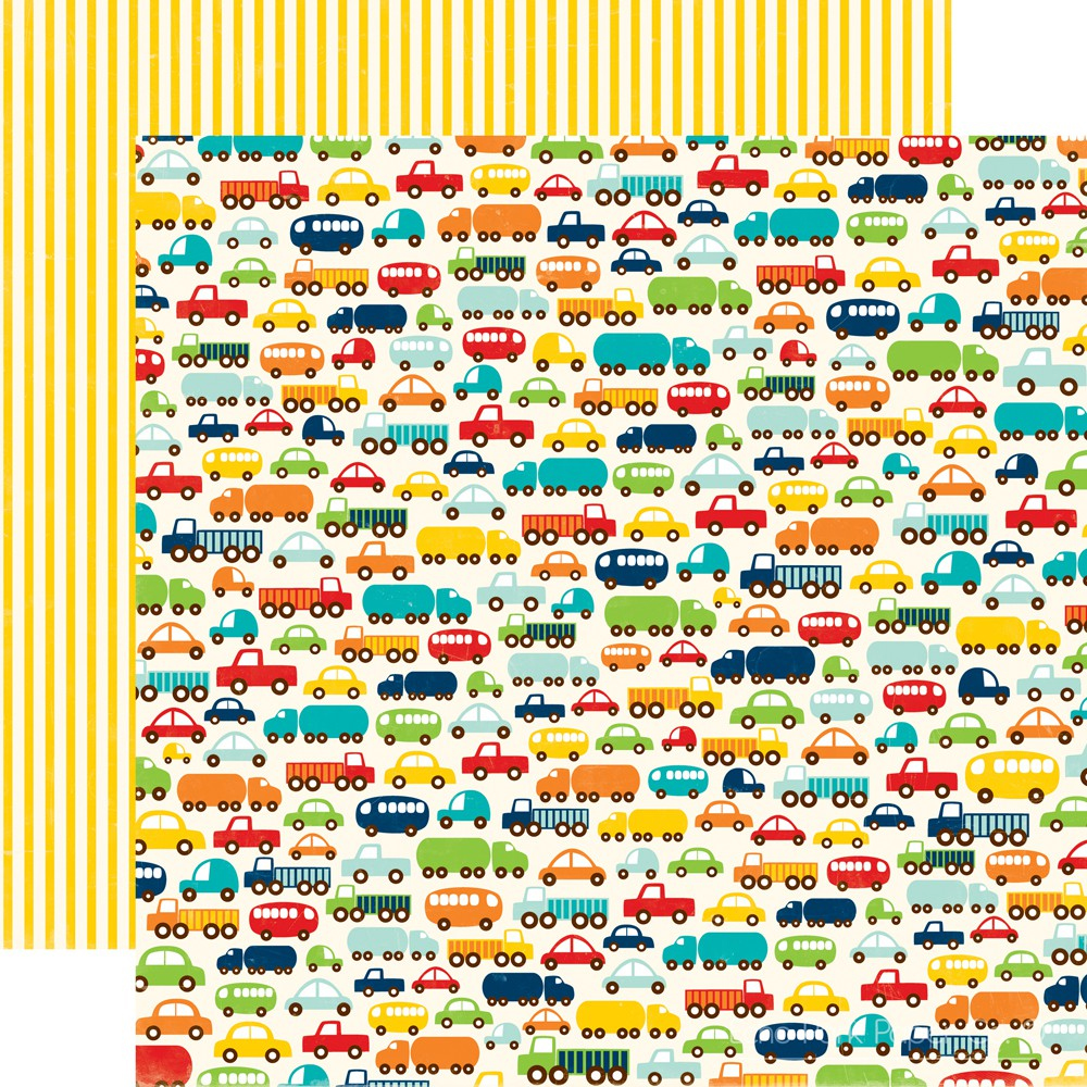 Scrapbook paper collections - Echo Park Little Boy Collection 12 X 12 Double Sided Paper Vroom