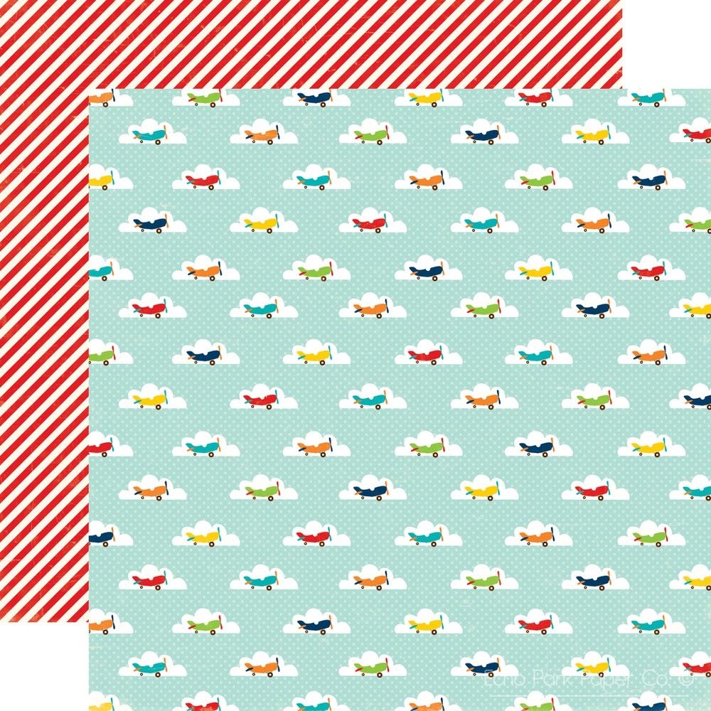 Scrapbook paper clouds - Echo Park Little Boy Collection 12 X 12 Double Sided Paper In The Clouds