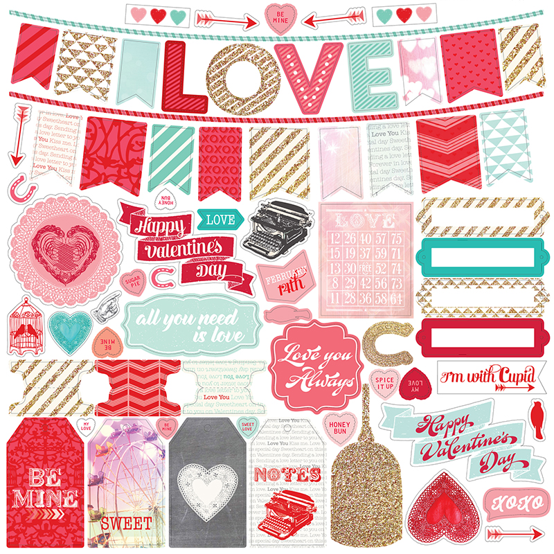 Echo Park - Lucky In Love Collection - 12 x 12 Cardstock