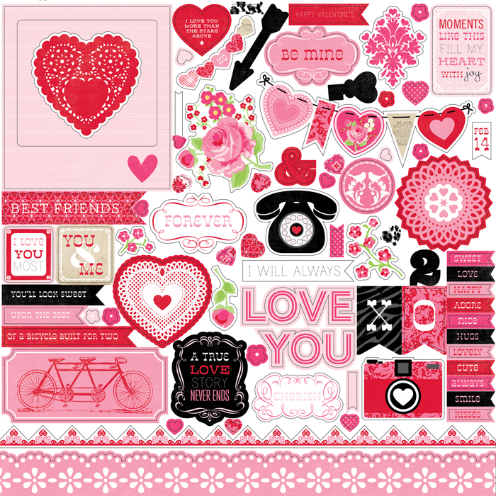 Echo Park Love Story Collection 12 X 12 Cardstock Stickers