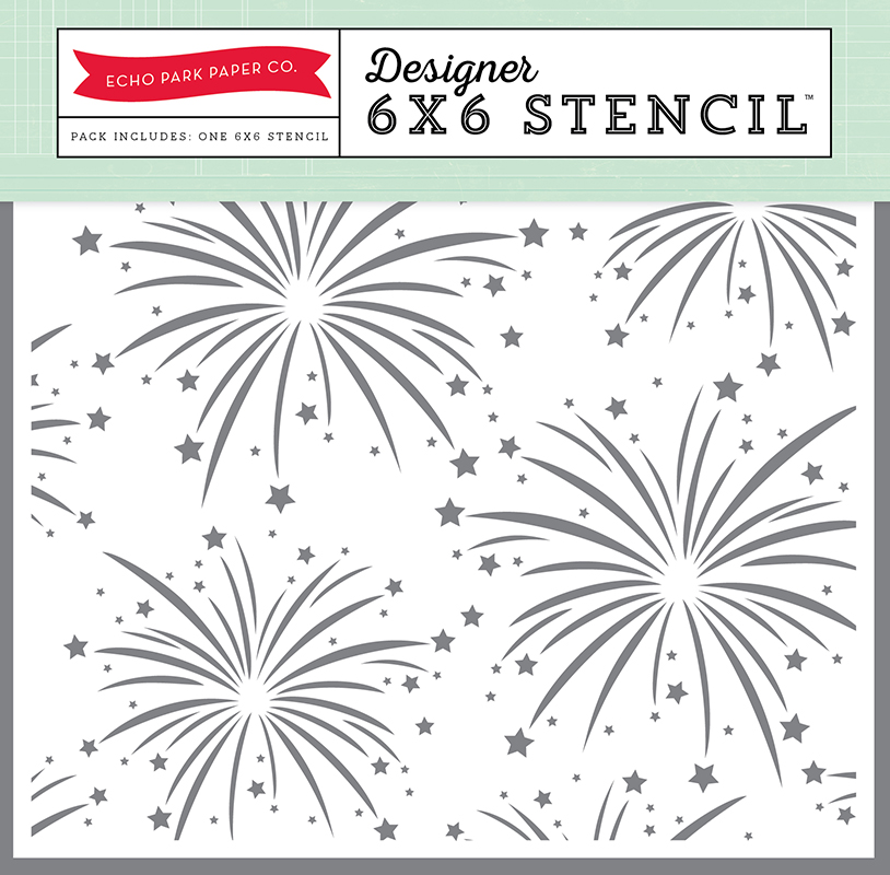 echo park magical adventure fireworks 6 x 6 stencil