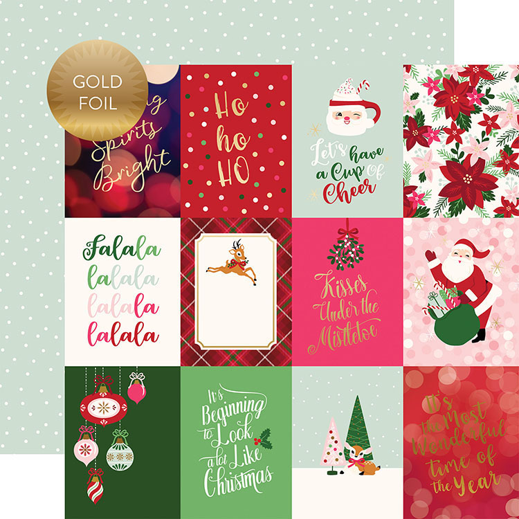 Echo Park Merry and Bright 3x4 Journaling Cards Paper with Foil Accents