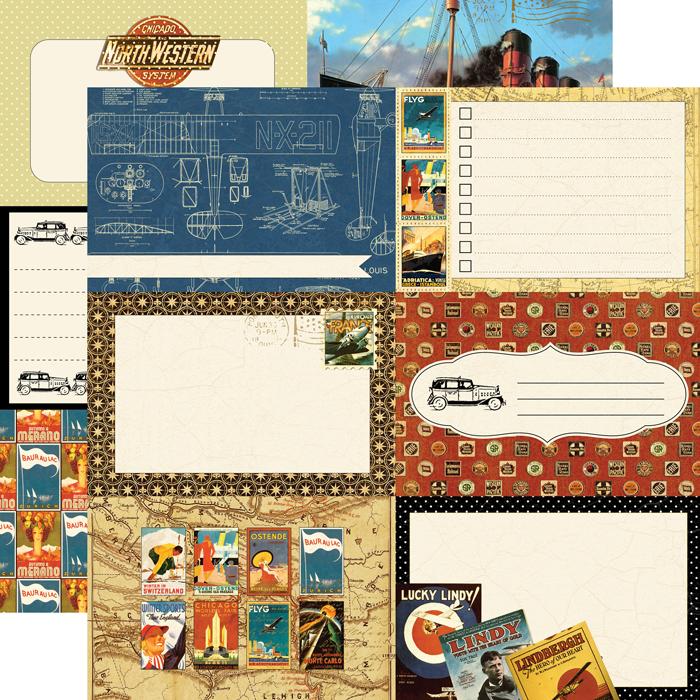 Echo park graphic 45 blueprint paper echo park graphic 45 transatlantique collection 12 x 12 double sided paper blueprint malvernweather Images
