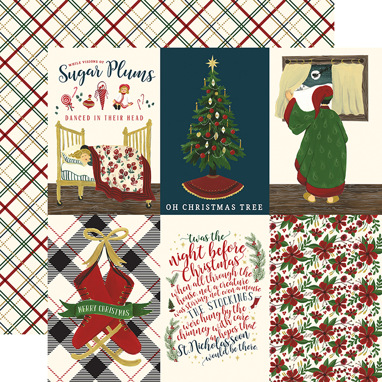 Echo Park - Twas the Night Before Christmas Collection - 12 x 12 Double  Sided Paper - Echo Park Twas The Night Before Christmas Vertical 4x6 Journaling