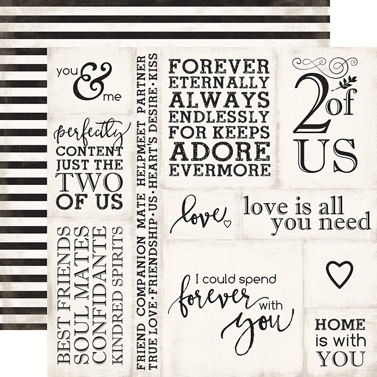 Echo Park Wedding Bliss Collection  Double Sided Paper Loving Words