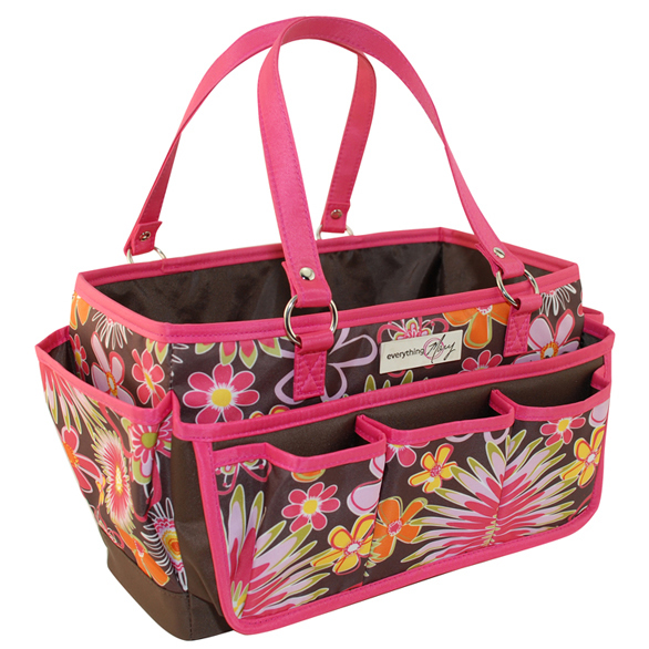 Everything Mary Brown And Pink Floral Scrapbook Organizer