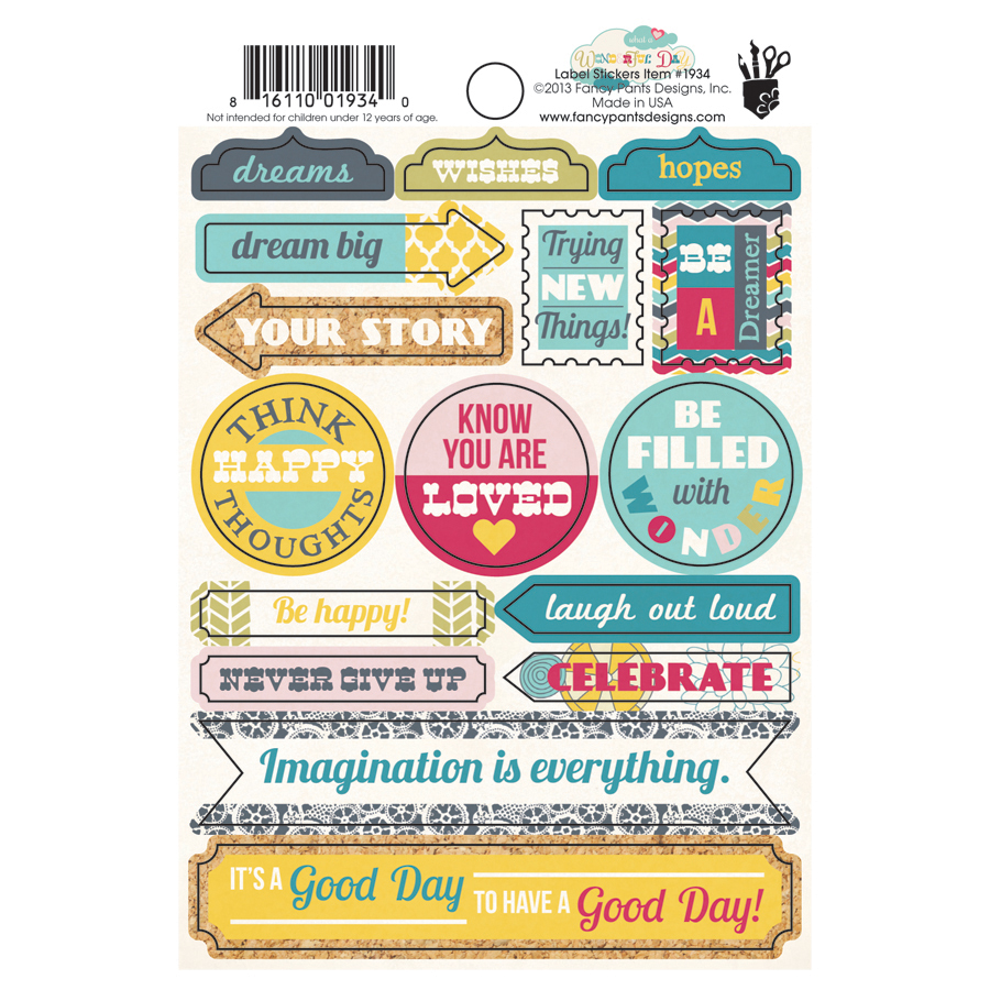 Scrapbook paper cardstock - Fancy Pants Designs Wonderful Day Collection Cardstock Stickers Labels