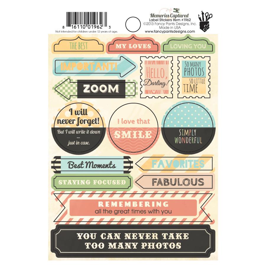 How to scrapbook memories - Fancy Pants Designs Memories Captured Collection Cardstock Stickers Labels