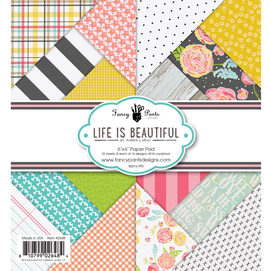 Scrapbook paper pads - Fancy Pants Designs Life Is Beautiful Collection 6 X 6 Paper Pad