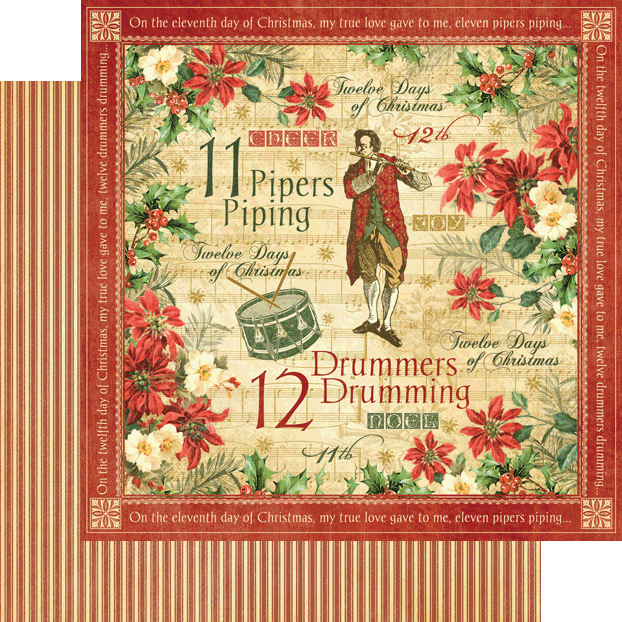 graphic 45 twelve days of christmas collection 12 x 12 double sided paper drummers drumming - When Are The Twelve Days Of Christmas