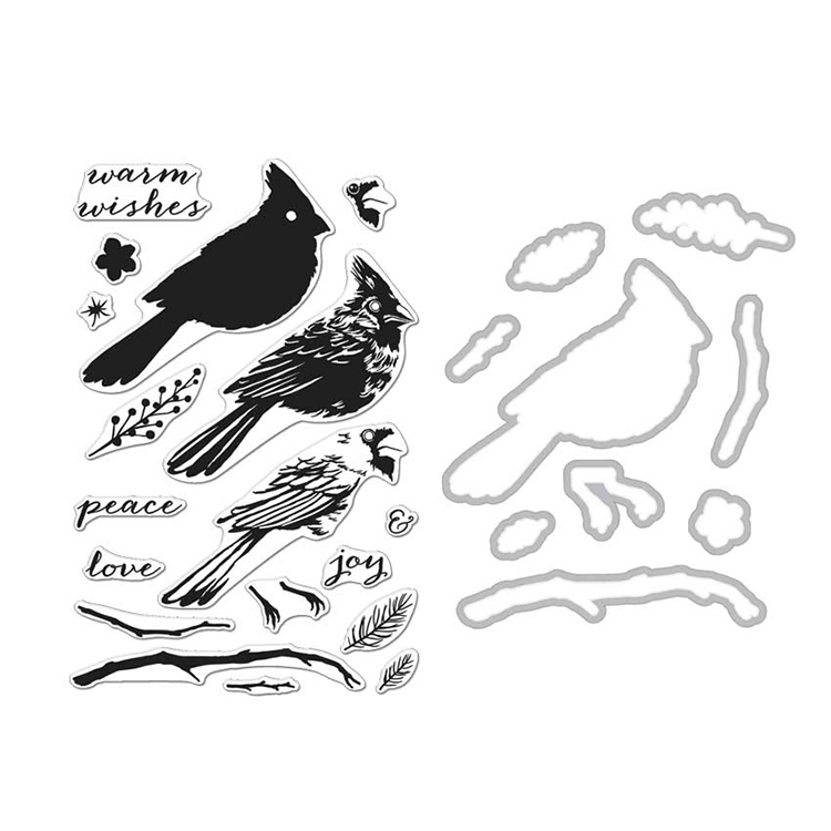 7475241166b Hero Arts - Die and Clear Photopolymer Stamp Set - Cardinal