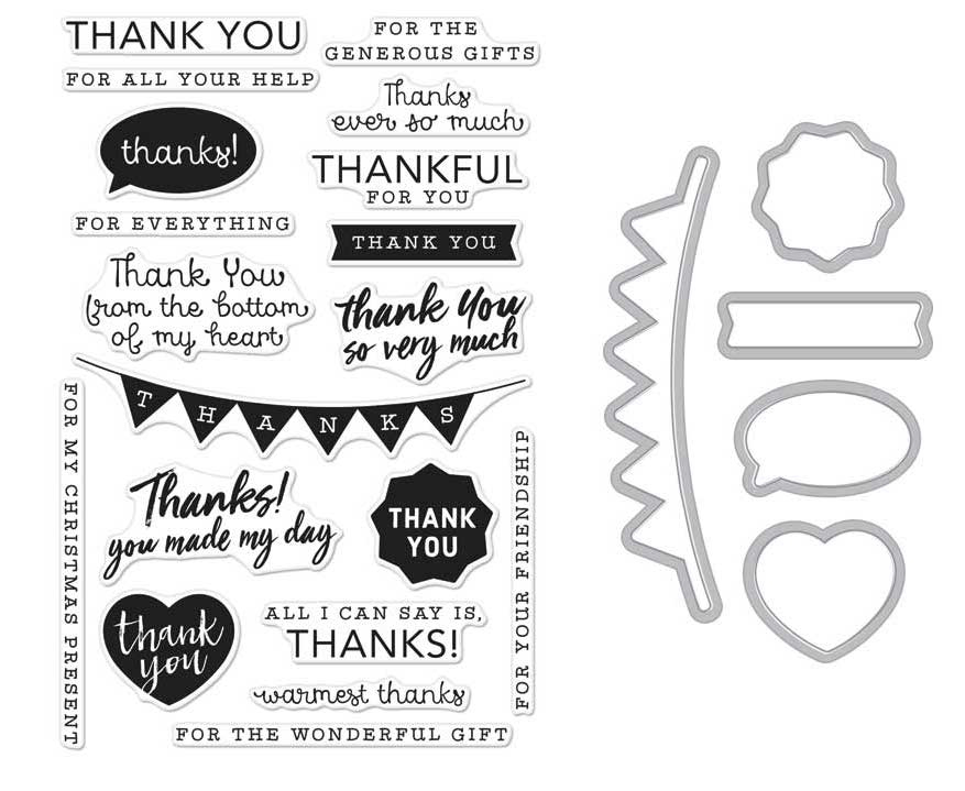 hero arts everyday thank you messages die and stamp set