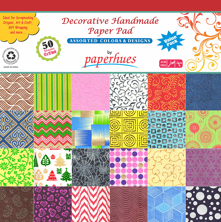 Paperhues Assorted Color And Design 12x12 Decorative Handmade Paper Pack