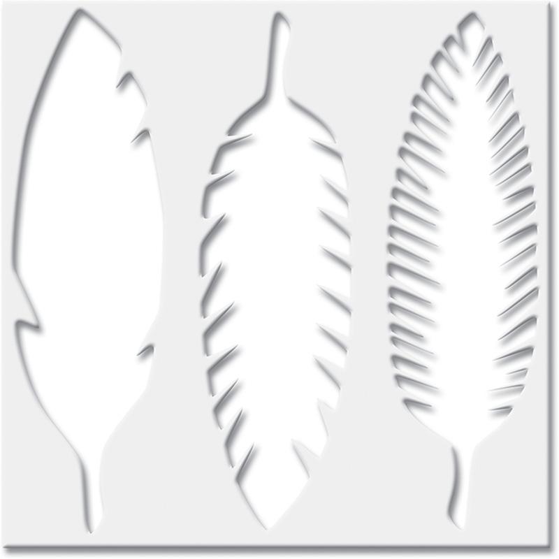 Jenni Bowlin Feathers 6 x 6 Stencil
