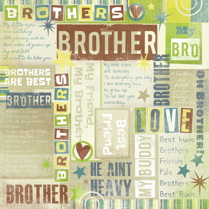 Karen Foster Design Brothers Collection 12 X 12 Paper