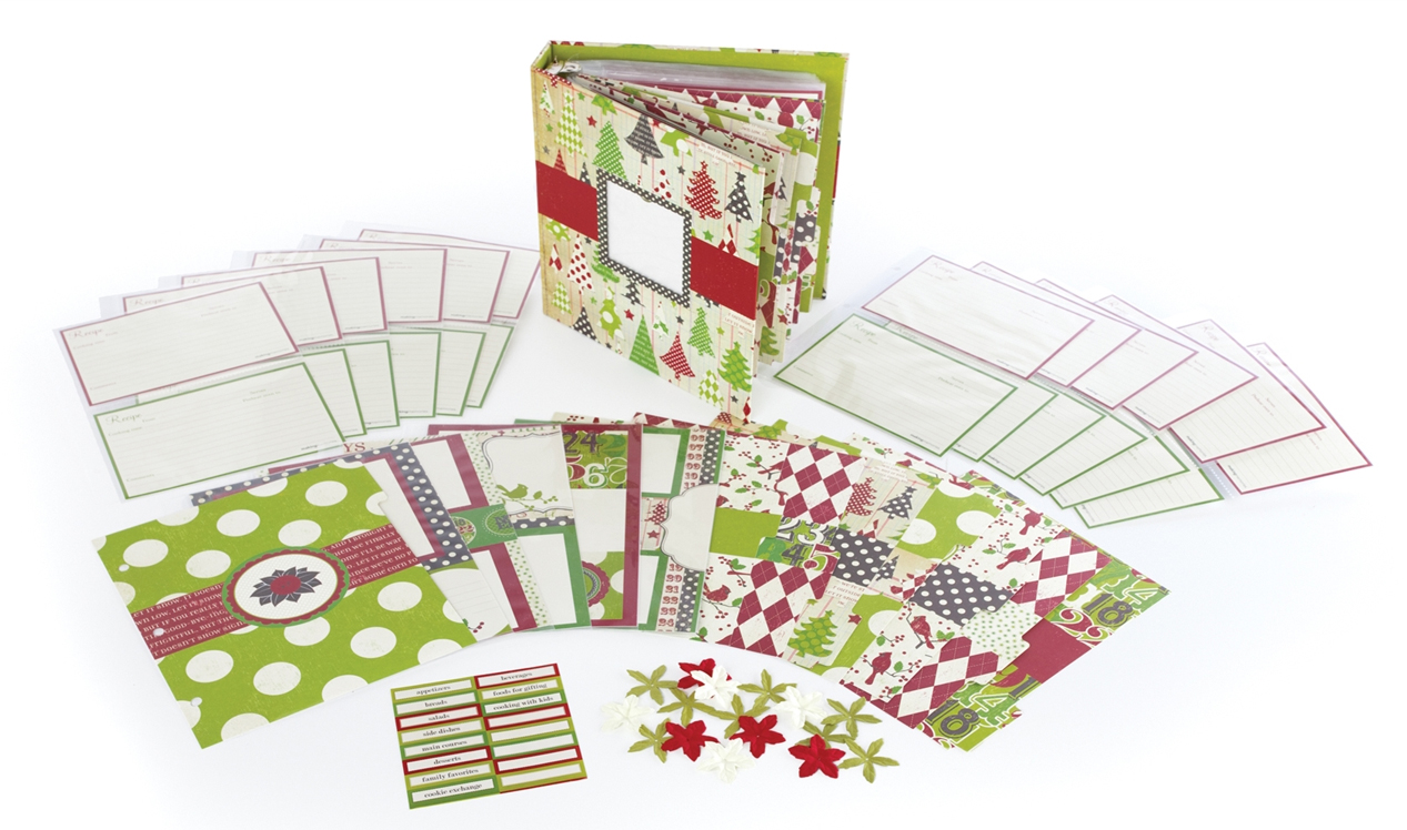 How to scrapbook a recipe book - Making Memories Mistletoe Collection Christmas Recipe Book Kit