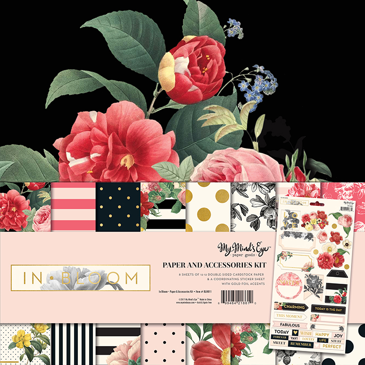 5457a6b67940a My Minds Eye In Bloom 12x12 Paper and Accessories Kit