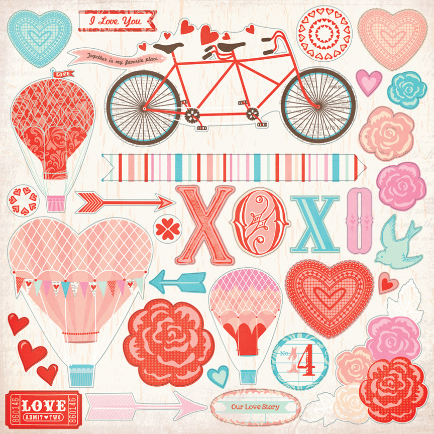 My Minds Eye Lucky In Love Collection 12 X 2 Cardstock Stickers