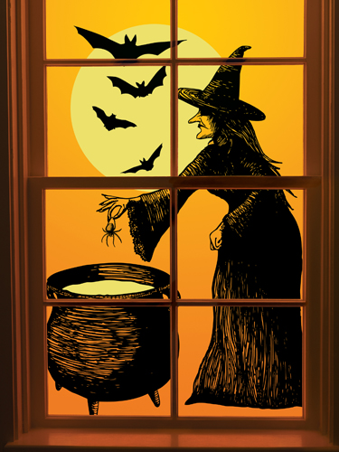 martha stewart crafts elegant witch collection halloween window clings - Window Clings Halloween