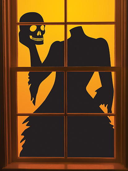 martha stewart crafts gothic manor collection halloween headless woman window cling