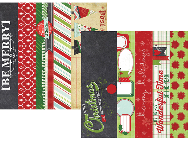 simple stories december documented collection christmas 12 x 12 double sided paper border and title strip elements