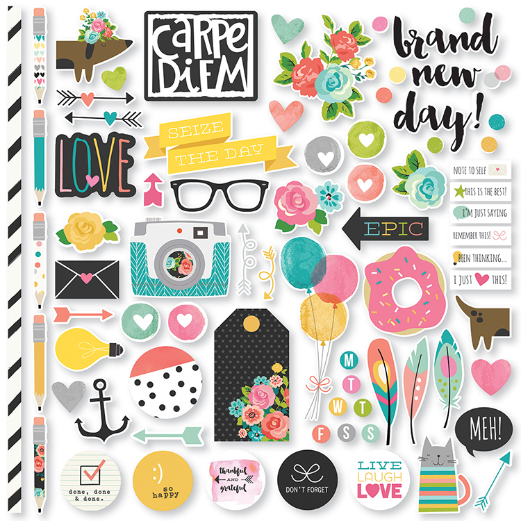 family photo color ideas for summer - Simple Stories Carpe Diem Fundamentals Stickers