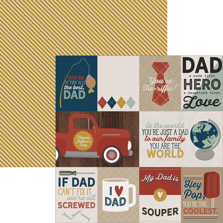 Simple Stories Dad 3x4 and 4x6 Journaling Card Elets Paper