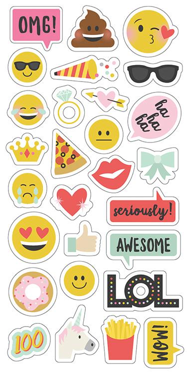 Simple Stories Emoji Love Chipboard Stickers