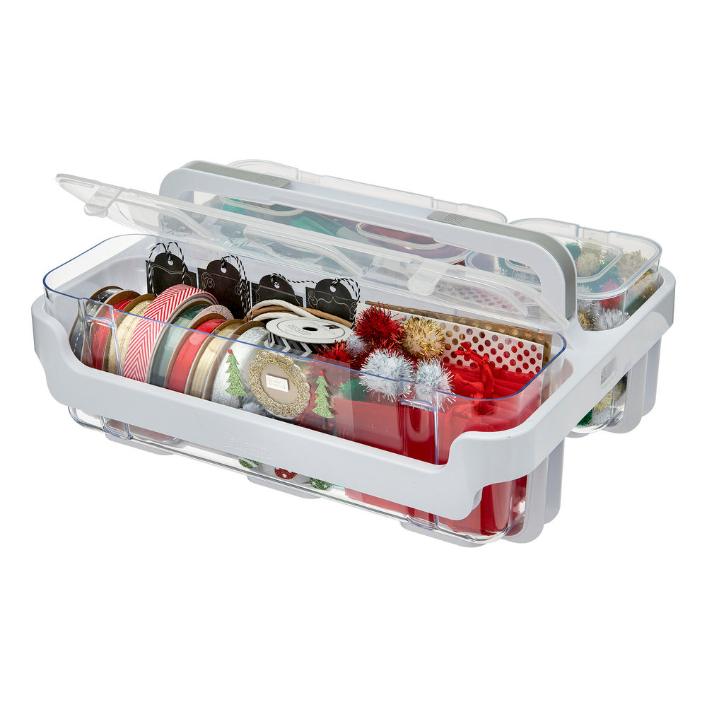 Deflecto White Caddy Organizer with Small Medium and Large Compartments