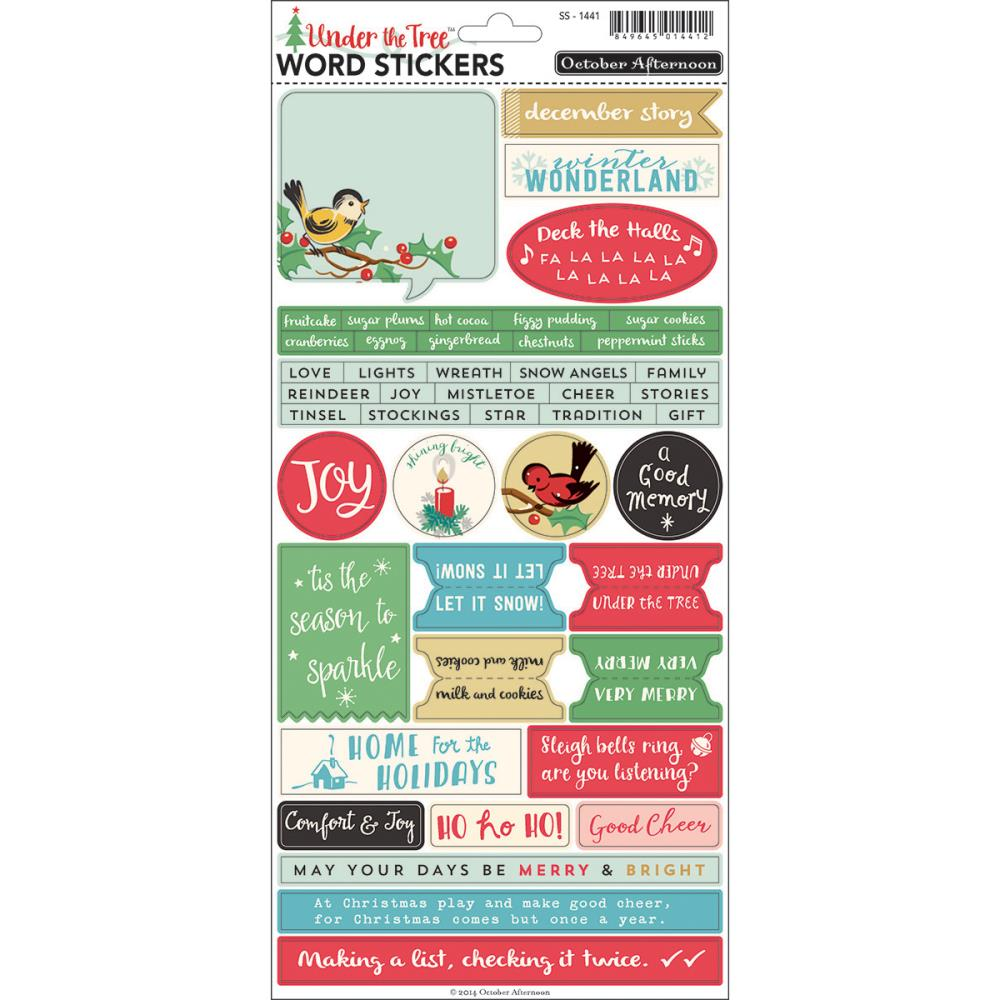 How to scrapbook words - October Afternoon Under The Tree Collection Christmas Cardstock Stickers Words