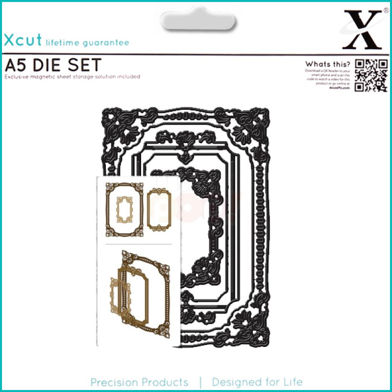 Docrafts Xcut Ornate Frames Square A5 Die Set