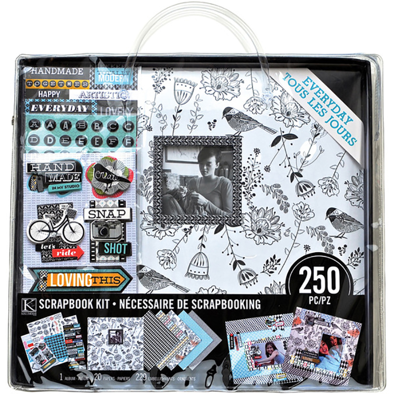 K And Company Everyday Modern Black And White 12 X 12 Scrapbook Kit
