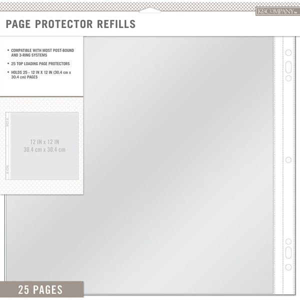 K And Company 12 X 12 Page Protector Refills 25 Pack