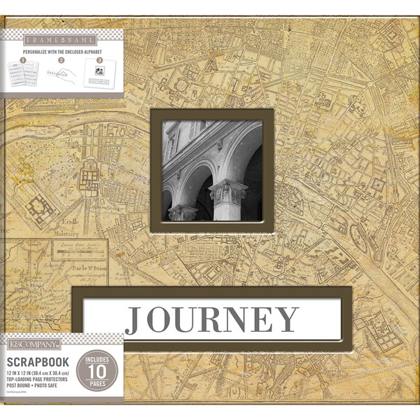 K And Company Vintage Map Frame A Name 12 X 12 Scrapbook Album