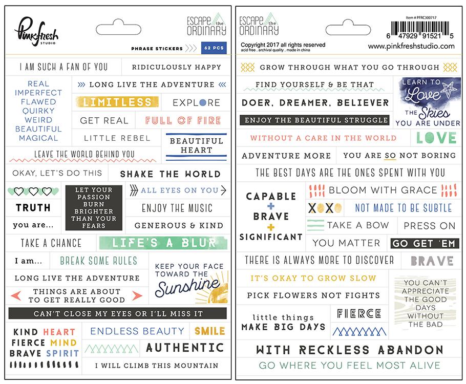 Pinkfresh Studio - Escape the Ordinary Phrases Stickers