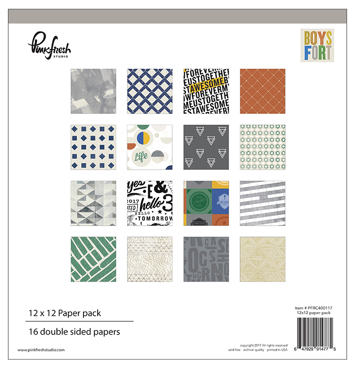 Pinkfresh Studio - Boys Fort 12x12 Paper Pack