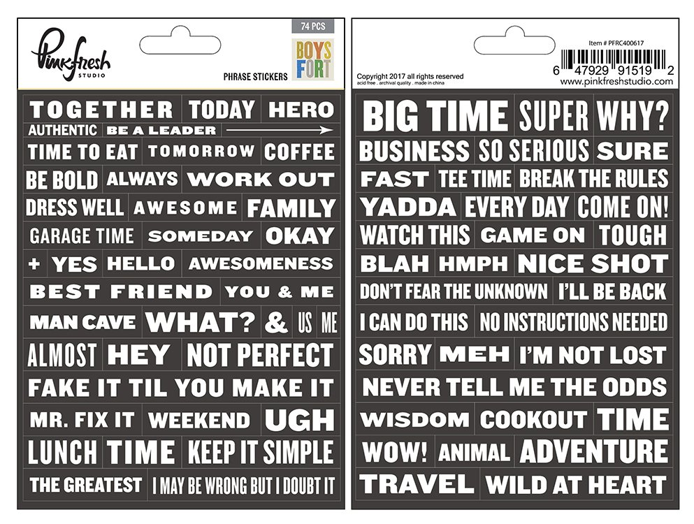 Pinkfresh Studio - Boys Fort Phrases Stickers