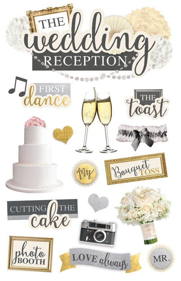 Paper House Productions 3 Dimensional Cardstock Stickers Wedding Reception