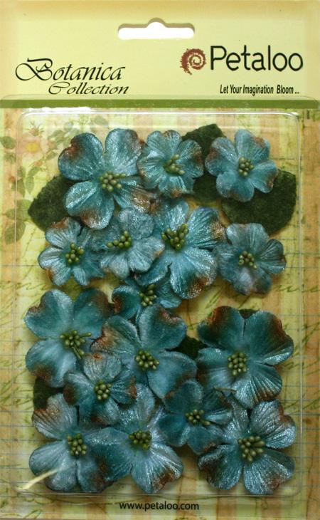 Petaloo Botanica Teal Vintage Velvet Dogwoods