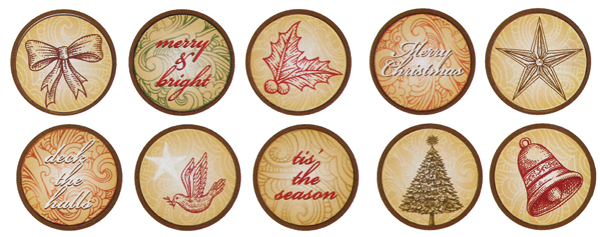 Bottle Cap Inc - Vintage Edition Collection - Bottle Cap Images - Vintage Scroll Christmas - 1 Inch
