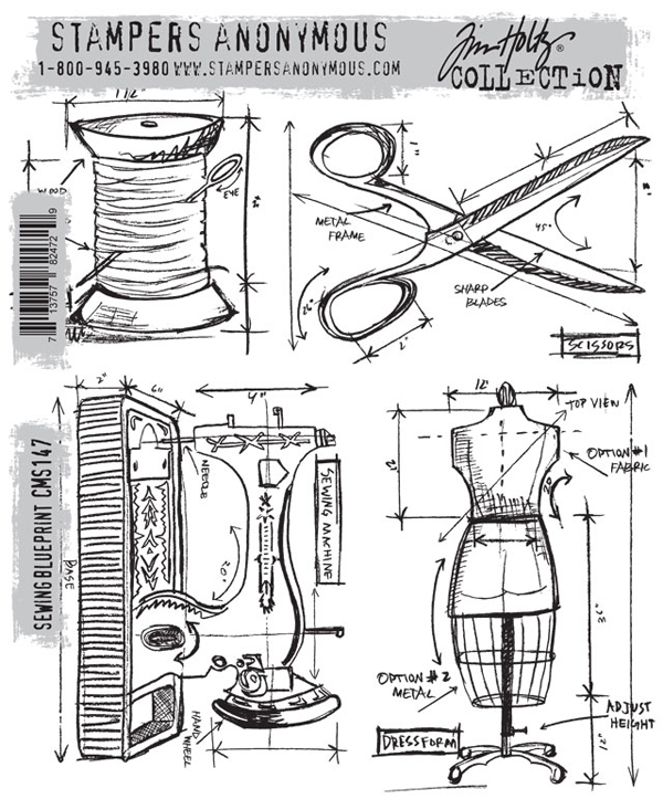 Stampers anonymous tim holtz sewing blueprint stamp set stampers anonymous tim holtz cling mounted rubber stamp set sewing blueprint malvernweather Image collections