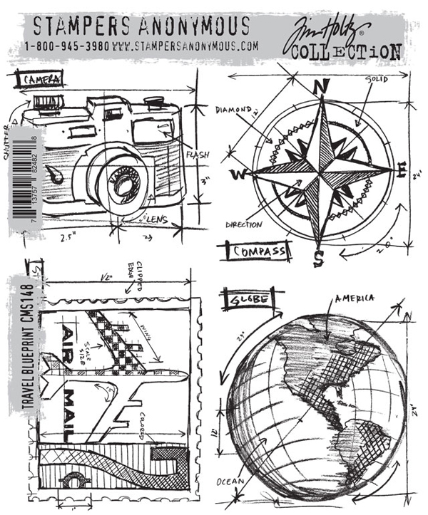 Stampers anonymous tim holtz travel blueprint stamp set stampers anonymous tim holtz cling mounted rubber stamp set travel blueprint malvernweather Image collections