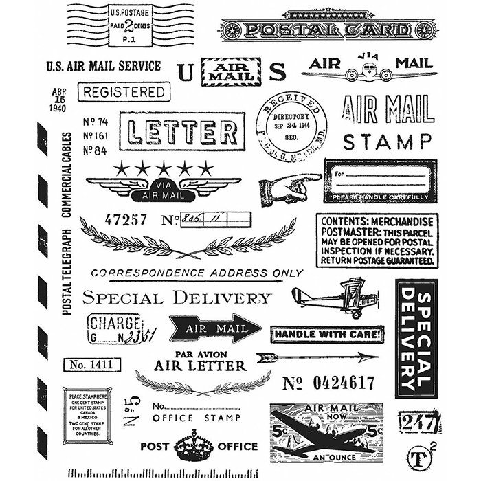 stampers anonymous tim holtz cling mounted rubber stamp set correspondence. Black Bedroom Furniture Sets. Home Design Ideas