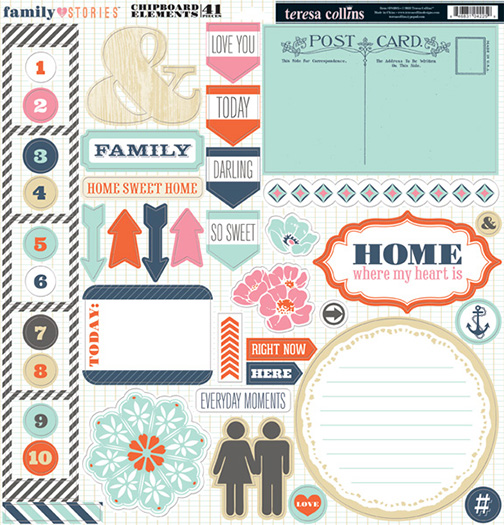 Teresa collins designs family stories collection 12 x 12 die cut chipboard stickers